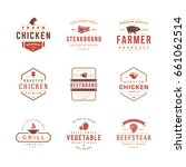 barbecue and grill labels logos ... | Shutterstock .eps vector #661062514