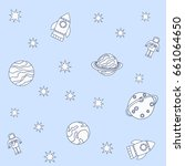 cute hand drawn space vector...   Shutterstock .eps vector #661064650