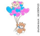 teddy bear with heart. color... | Shutterstock .eps vector #661085410