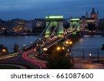 chain bridge at night       | Shutterstock . vector #661087600