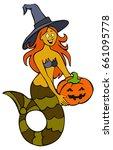 funny mermaid in halloween... | Shutterstock .eps vector #661095778