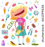girlish clip art collection... | Shutterstock . vector #661099636
