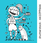 girl cat and bird friends... | Shutterstock . vector #661099666