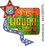 vintage liquor store sign on...   Shutterstock .eps vector #661100374