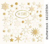 golden hand drawn stars. vector. | Shutterstock .eps vector #661105564
