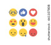 social media reactions. flat... | Shutterstock .eps vector #661107808