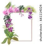 tropical rectangular frame with ... | Shutterstock .eps vector #661114024