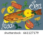 trout with lemon   handmade... | Shutterstock .eps vector #661127179