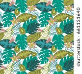 seamless tropical pattern with... | Shutterstock .eps vector #661131640