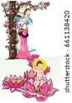 buddha's mother standing under... | Shutterstock .eps vector #661138420