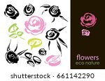 set of hand drawn flowers ...