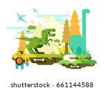 dawn of the dinosaurs | Shutterstock .eps vector #661144588