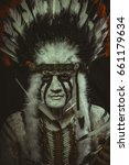 Small photo of Costume Aboriginal, American Indian with plume of feathers, ax and war paintings