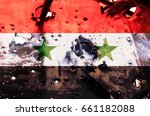 Small photo of Flag of Syria on the shot metal sheets, symbolizing the war in this country, Confrontation, copy-space, separatism