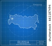 russia blueprint map template... | Shutterstock .eps vector #661187494