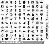 100 calories icons set in... | Shutterstock .eps vector #661188100