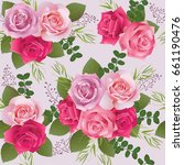 seamless floral pattern with... | Shutterstock .eps vector #661190476