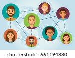 cloud people avatars on blue... | Shutterstock .eps vector #661194880