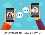 two persons chat by mobile... | Shutterstock .eps vector #661194940