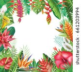 frame from tropical plants and... | Shutterstock .eps vector #661203994