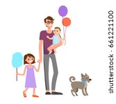 cartoon characters of family.... | Shutterstock .eps vector #661221100