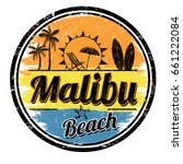 malibu beach sign or stamp on... | Shutterstock .eps vector #661222084