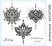 hand drawn vector lotus flower... | Shutterstock .eps vector #661247200