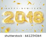 2018 happy new year. gold... | Shutterstock .eps vector #661254364