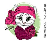vector white cat with... | Shutterstock .eps vector #661260610