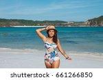 young beautiful caucasian girl... | Shutterstock . vector #661266850