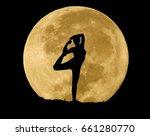 Yoga In Full Moon Background
