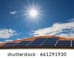 solar panels on the roof energy ... | Shutterstock . vector #661291930