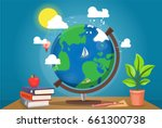 table globe surrounded by books ... | Shutterstock .eps vector #661300738