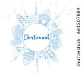 outline dortmund skyline with... | Shutterstock . vector #661307884