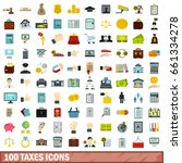 100 money icons set in flat... | Shutterstock .eps vector #661334278