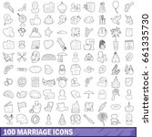 100 marriage icons set in... | Shutterstock .eps vector #661335730