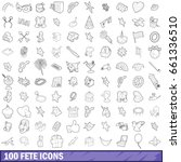 100 fete icons set in outline... | Shutterstock .eps vector #661336510