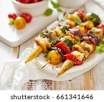 grilled vegetarian skewers with ... | Shutterstock . vector #661341646