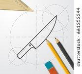 vector blueprint knife icon on... | Shutterstock .eps vector #661353244