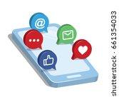 3d smart phone with smart... | Shutterstock .eps vector #661354033