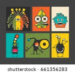 set of six retro postage s... | Shutterstock .eps vector #661356283