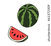 watermelon on white background... | Shutterstock .eps vector #661372309