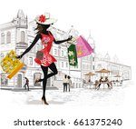 fashion girl in a white hat... | Shutterstock .eps vector #661375240
