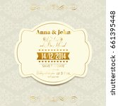 wedding invitation with gold... | Shutterstock . vector #661395448