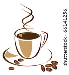 a cup of black coffee. vector... | Shutterstock .eps vector #66141256
