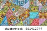 vector patchwork quilt pattern. ... | Shutterstock .eps vector #661412749
