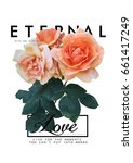 rose graphic print for fashion... | Shutterstock . vector #661417249