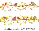 autumn floral set seamless... | Shutterstock .eps vector #661428748