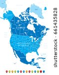 north america map with icons... | Shutterstock .eps vector #661435828