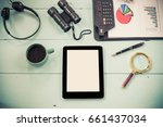 top view mock up tablet similar ... | Shutterstock . vector #661437034